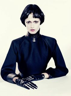 Małgosia Bela by Paolo Roversi and styled by Jacob K in 'Black Fascination' for the December 2012 issue of Vogue Italia.
