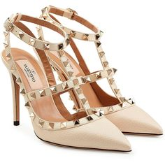 Valentino Leather Rockstud Pumps (25.940 UYU) ❤ liked on Polyvore featuring shoes, pumps, heels, valentino, beige, valentino shoes, genuine leather shoes, beige pumps, beige shoes and real leather shoes