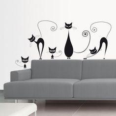 Gatti neri Decalcomanie da muro