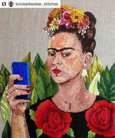 It's Friday! It's Frida! #regram @knickerbocker_stitches The Original Selfie hand embroidery on Italian linen. #fridakahlo #selfie . #embroidery #handembroidery #contemporaryembroidery #bordado #fiberart #bordadoamano #creatorslane #刺繍 #자수 #вышивка #borduurwerk #stickerei #kirjonta #broderie #broderi #ricamo #nakis #wyszywanka #textileartist #embroideryart #abmcrafty #dmcthreads #iloveembroidery #knickerbockerstitches #huffpostarts #creativityfound #mrxstitch via The Mr X Stitch official…