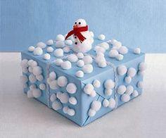 DIY Pom-Pom Snowman Wrapping Paper .