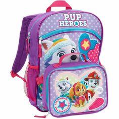 """NEW 16"""" Kids PAW PATROL Pup Heroes BACKPACK & LUNCH TOTE Set Book Bag Pink #Nickelodeon #Backpack"""
