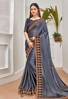 Buy Gray Chiffon Saree With Blouse 201209 with blouse online at lowest price from vast collection of sarees at Indianclothstore.com. Chiffon Saree, Blouse Online, Sarees, Gray, Stuff To Buy, Collection, Design, Fashion, Ash