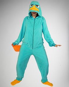Aren't I a little old for footed pajamas?... NO....NO IM NOT! Phineas and Ferb 'Perry' Hooded Footed Adult Pajamas