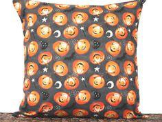 Halloween Pumpkin Pillow Cover Cushion Bats Crescent Moon Sorcerers Hat Gray Black Orange White Decorative 18x18 by PookieandJack on Etsy