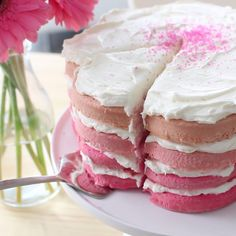 The prettiest cake that would be perfect at a tea party or for celebrating spring! Cakes taste better in shades of pink.