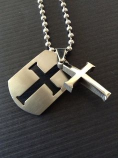 Men's Cross Necklace - Silver Dogtag Cross Necklace - Men's Jewelry on Etsy, $18.00