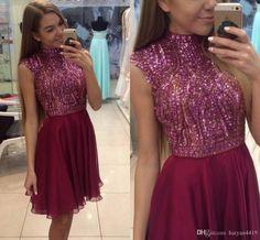 2016 New Short Homecoming Dresses High Neck Cap Sleeves Crystal Beaded Burgundy…
