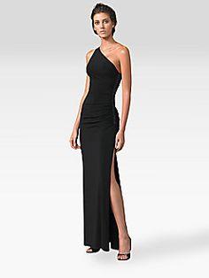 One shoulder Curve Hugging Maxi side split gown - Laundry by Shelli Segal - One-Shoulder Matte Jersey Dress $270
