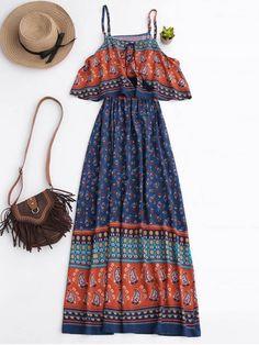$25.49 Floral Layered Maxi Dress - BLUE XL