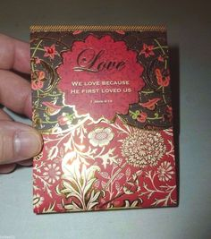 PUNCH STUDIO RED & GOLD FLORAL LOVE 1 JOHN 4:19 MINI DECORATIVE VERSE NOTE PAD #PUNCHSTUDIO