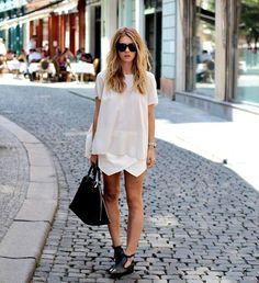 Asymmetrical skirt #allwhite
