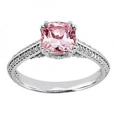 Carats Pink Cushion Halo Diamond #Engagement #Ring  #rings #jewelry #wedding