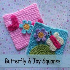 These Butterfly and Joy Squares are a pair of cute and whimsical mini afghan squares that are the second in a series! Free pattern by Creative Crochet Workshop for The Stitchin' Mommy