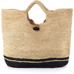 Vitamin A Large Straw Beach Bag (1 745 SEK) ❤ liked on Polyvore featuring tops and beige top