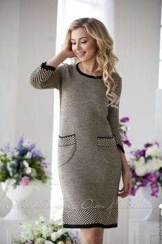 """Stylish classic dress """"Eliza"""", with jacquard pattern and patch pockets! Ice Dresses, Dresses With Sleeves, Cozy Fashion, Fashion Over 50, Winter Dresses, Knit Dress, Beautiful Outfits, Vintage Dresses, Fashion Dresses"""