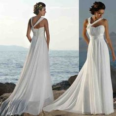 2016 Simple Design Wedding Dress Chiffon and Stain Beach Bridal Gown vestido de noiva Chapel Wedding Dresses, Chiffon Wedding Gowns, Sexy Wedding Dresses, Bridal Dresses, Bridesmaid Dresses, Gown Wedding, The Bride, Chapelle, Looks Style