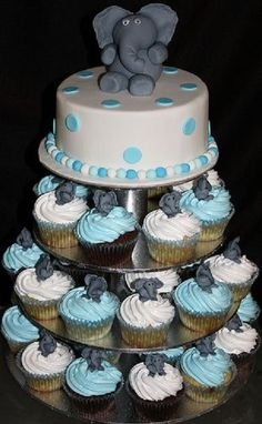 Baby Shower Cake And Cupcakes Babyshower Gender Reveal Ideas Elephant Cupcakes, Elephant Baby Shower Cake, Baby Shower Cakes For Boys, Boy Baby Shower Themes, Baby Shower Games, Baby Boy Shower, Elephant Theme, Cakes For Baby Boy, Baby Boy Themes