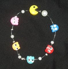 PACMAN Illusion Bracelet with Ghosts Polymer Clay Kawaii, Video games, 1980s. $11.50, via Etsy.
