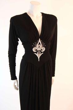 Bob Mackie Black Embellished Bodice Gown image 3