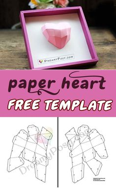 Free template and tutorial to make paper heart frame, 3D heart, 3D heart paper, #paperheart #valentinesday #valentine #valentinesdaygiftideas