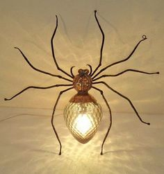 spider wall light - brass iron and glass insect light, about cm/ 20 in. can stand or sit.insect light, about cm/ 20 in. can stand or sit. Spider Light, Spider Lamp, Diy Lampe, I Love Lamp, Deco Design, Lamp Design, Light Design, Gothic House, Wire Art