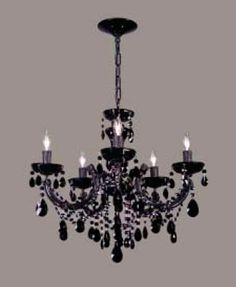 Classic Lighting Maria Theresa Rialto Black On Black Collection Black with Black Bobeches & Column parts Fixture By Classic Lighting Bedroom Chandeliers, Wrought Iron Chandeliers, Ceiling Lights, Crystals, Lighting, Gallery, Home Decor, Decoration Home, Roof Rack