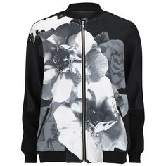 The Fifth Women's Laguna Bomber Jacket - Black (€68) ❤ liked on Polyvore featuring outerwear, jackets, coats, black, biker jacket, bomber jacket, floral jacket, floral bomber jacket et black wrap jacket