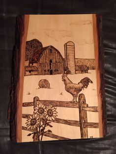 Barn Scene with Rooster wood burnt art Wood Burning Crafts, Wood Burning Patterns, Wood Burning Art, Wood Crafts, Woodworking Projects For Kids, Learn Woodworking, Wood Projects, Woodworking Plans, Woodworking Crafts