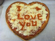 Heart Shaped Pizza with message for Valentine's Day http://lite987.com/?p=169522