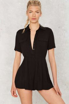 ab8d086b181 Collar Back Girl Button-Up Romper - Rompers + Jumpsuits Playsuit Romper
