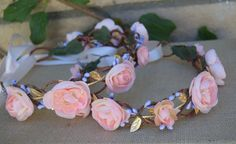 Blush Pink & Purple Flower Crown  Pink and Gold by BohoHaloCompany
