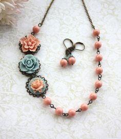 Necklace and Earring Set. Pink Blue Salmon Peach door Marolsha
