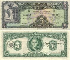 El Salvador 5 Colones 1938  Obverse: Woman with fruits; Reverse: Christopher Columbus - Cristobal Colon.