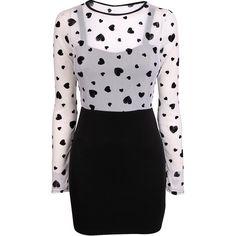 Black Flocked Heart Dress ($35) ❤ liked on Polyvore