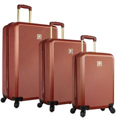 Anne Klein Aurora 3 Piece Hardside Spinner Luggage Set, Rust