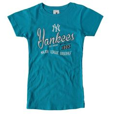 9384fea70 New York Yankees Soft as a Grape Youth Girls Vintage Script T-Shirt -  Turquoise