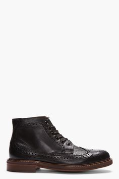 H BY HUDSON Black Leather Hemming Longwing Brogue Boots