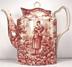 Red and white linens - Fine Porcelain China Joan of Arc Teapot. Classic Red French Toile Teapot ...