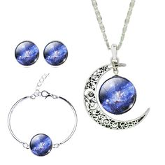 Jiayiqi Mystical Galaxy Universe Time Gem Crescent Pendant Necklace Earrings Set for Women Holiday Gift