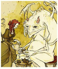 Take Tea with Me? Art Print by Abigail Larson Fantasy World, Fantasy Art, Abigail Larson, Redhead Art, Popular Art, Steampunk Clothing, Gothic Art, Retro Futurism, Dieselpunk