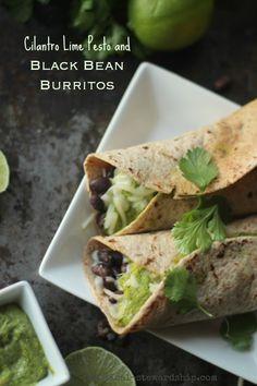 Cilantro Lime Pesto Recipe and Black Bean Burrito Recipe