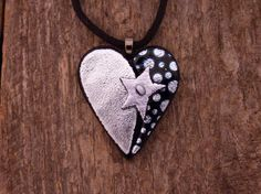 Dichroic Fused Glass Heart Necklace via Etsy