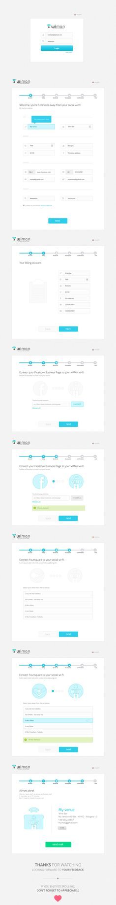 Wiman registration wizard on Behance