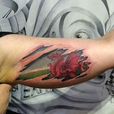 Welsh dragon tear, done my own take on the dragon Up Tattoos, Celtic Tattoos, Couple Tattoos, Forearm Tattoos, Body Art Tattoos, Sleeve Tattoos, Dragon Tattoo Design Simple, Dragon Tattoo Designs, Cute Dragon