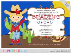 Cowboy 2 Personalized Party Invitation-personalized invitation, photo card, photo invitation, digital, party invitation, birthday, shower, announcement, printable, print, diy,