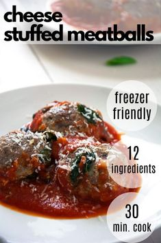 Juicy goat cheese stuffed meatballs filled with creamy and tangy goat cheese are baked in a rustic tomato sauce with basil and cherry tomatoes. Slow Cooker Freezer Meals, Healthy Freezer Meals, Healthy Pasta Recipes, Healthy Appetizers, Healthy Meal Prep, Easy Chicken Recipes, Clean Eating Recipes, Easy Dinner Recipes, Appetizer Recipes