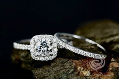 Certified Engagement 6mm Cushion Cut Forever Brilliant Moissanite 14k White Gold Diamond Halo Ring With Half Eternity Matching Band Set by loveforeverjewelrysv on Etsy