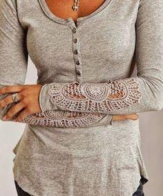 Grey arm fall lace women shirt fashion