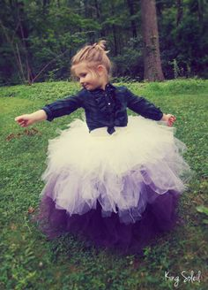 Flower Girl Tutu Skirt Ombre Purple Lavender Ivory Tulle Crochet Band Satin Bow Child Size 5